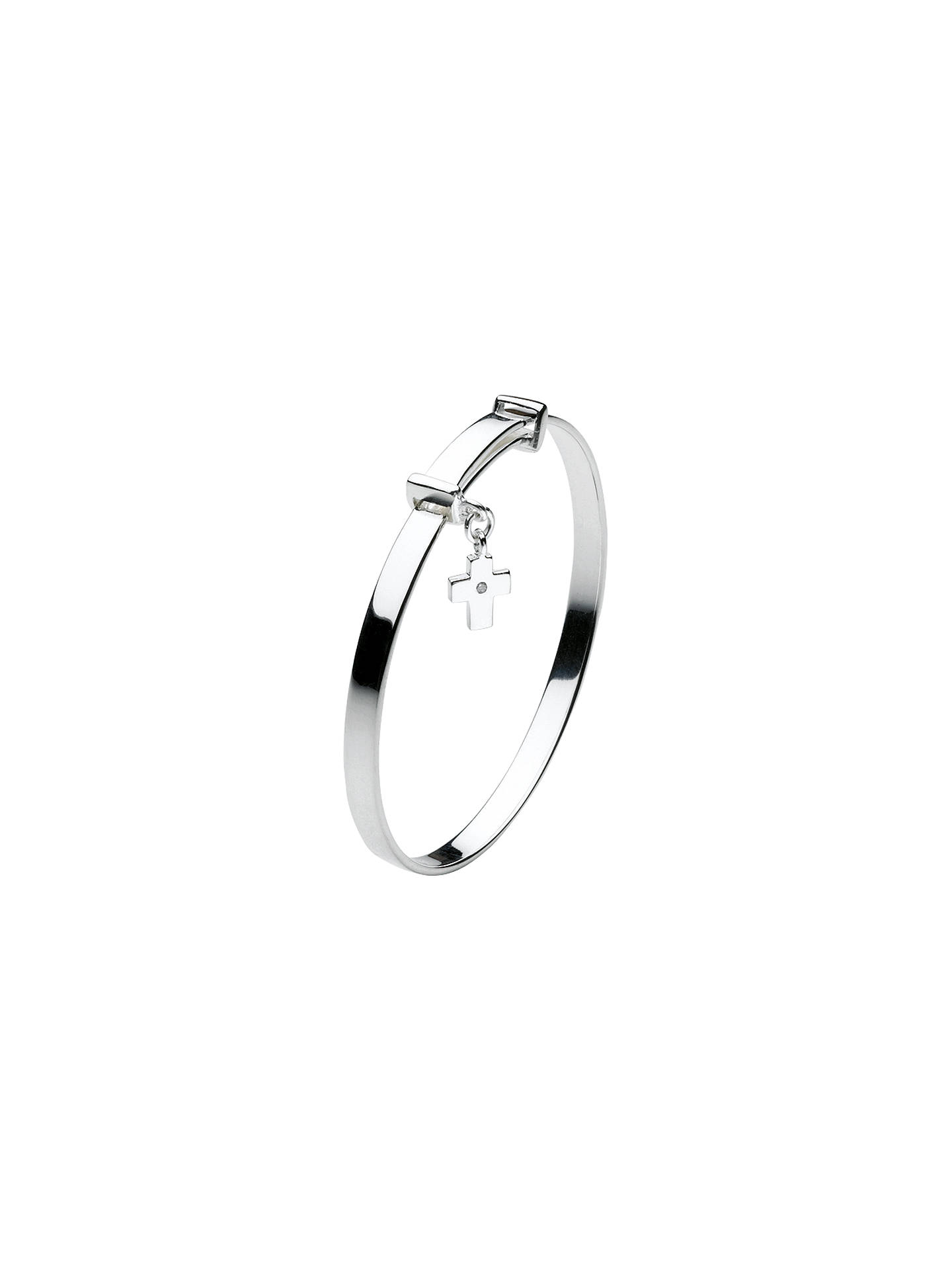 BuyKit Heath Dinky Cross Sterling Silver Expanding Bangle, Silver Online at johnlewis.com