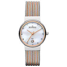 Buy Skagen Women's Mother of Pearl Dial Date Two Tone Mesh Bracelet Strap Watch Online at johnlewis.com