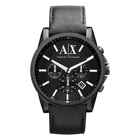 Buy Armani Exchange AX2098 Men's Chronograph Date Leather Strap Watch, Black Online at johnlewis.com