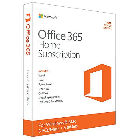 Buy Microsoft Office 365 Home Premium, 5 PCs, One Year Subscription Online at johnlewis.com