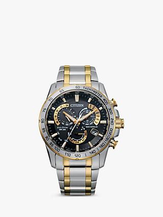 Citizen AT4004-52E Men's Radio Controlled Eco-Drive Chronograph Two Tone Bracelet Strap Watch, Silver/Gold