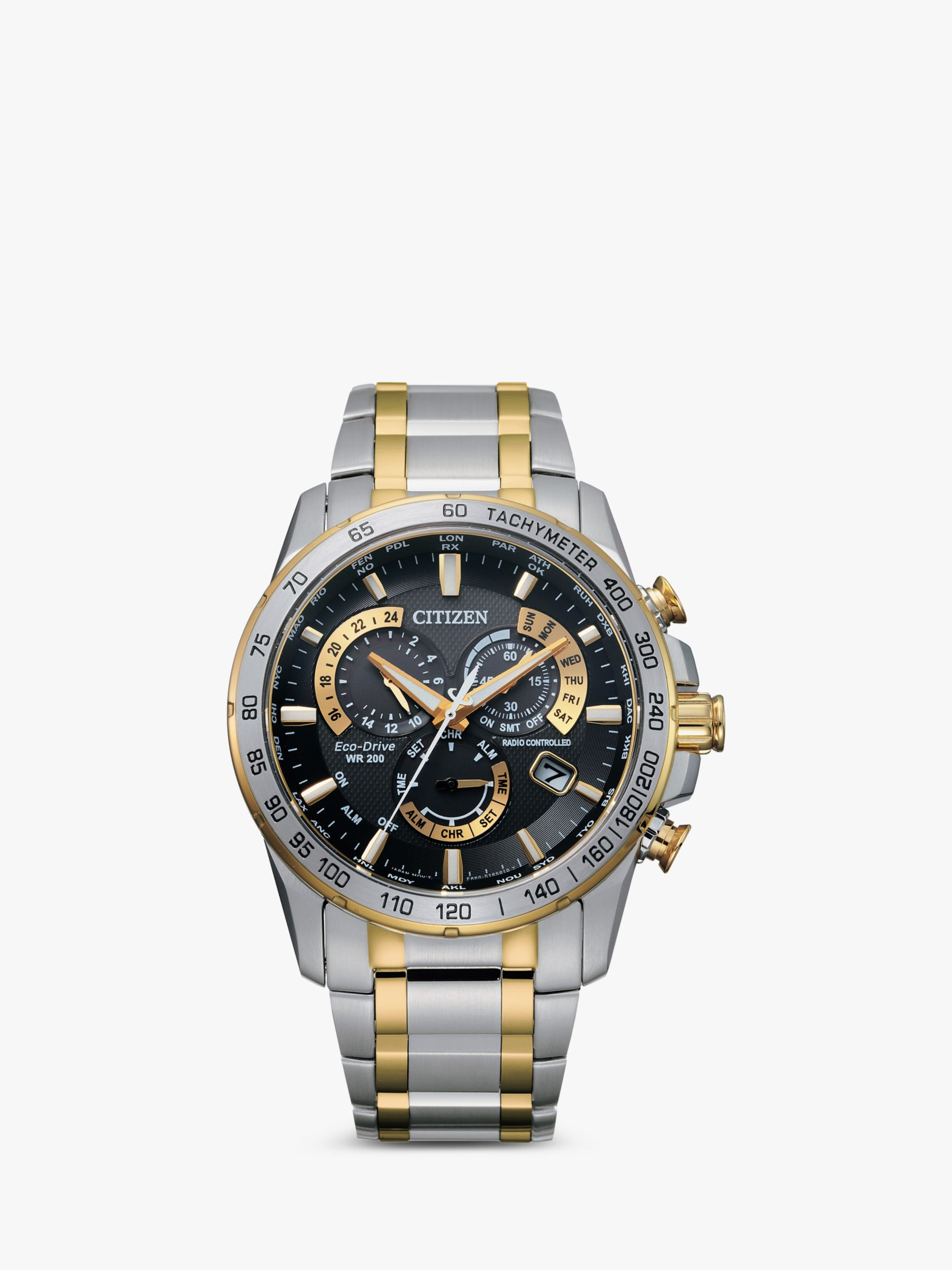 Citizen Citizen AT4004-52E Men's Radio Controlled Eco-Drive Chronograph Two Tone Bracelet Strap Watch, Silver/Gold