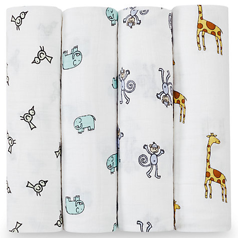 Buy Aden + Anais Swaddle Baby Blankets, Pack of 4, Jungle Jam Online at johnlewis.com