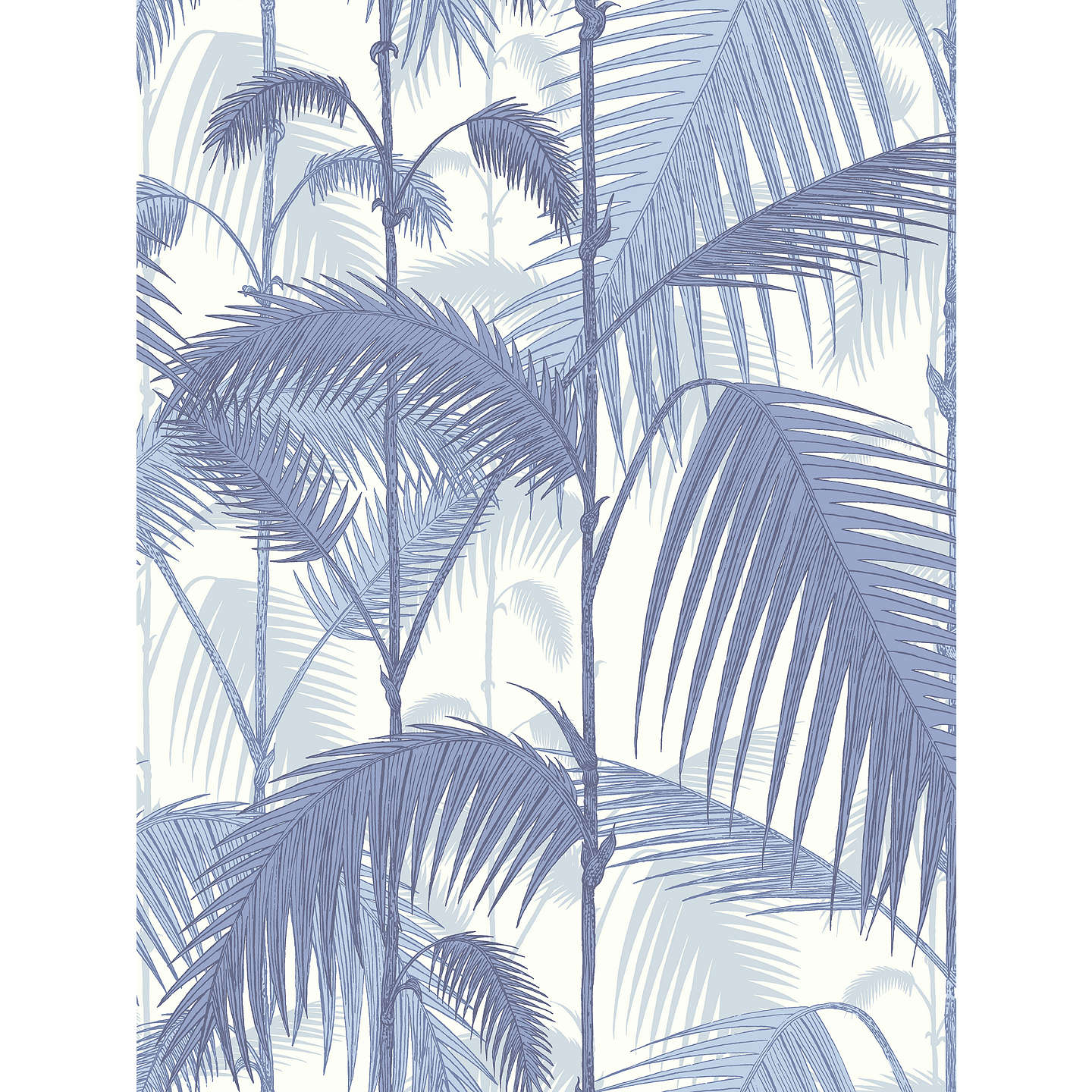 BuyCole & Son Palm Jungle Wallpaper, Blue on White, 95/1005 Online at johnlewis.com