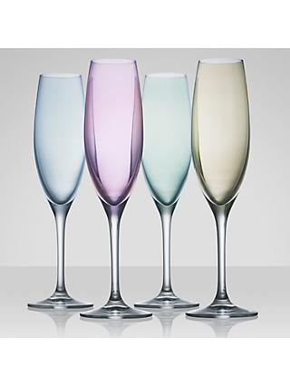 LSA International Polka Pastel Champagne Flutes, Set of 4, 230ml