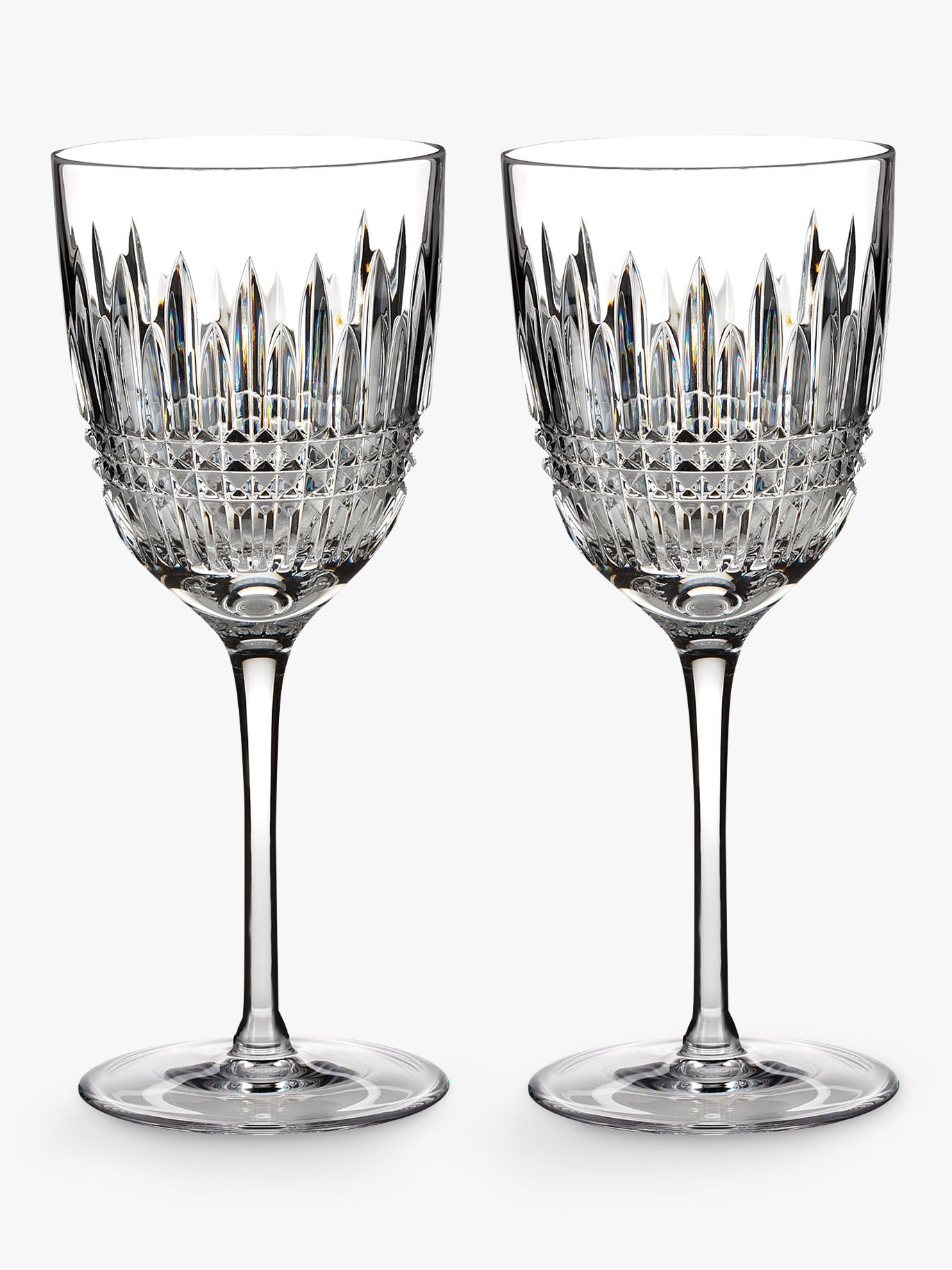 Waterford Waterford Lismore Diamond Cut Lead Crystal Goblet, Set of 2, 250ml, Clear