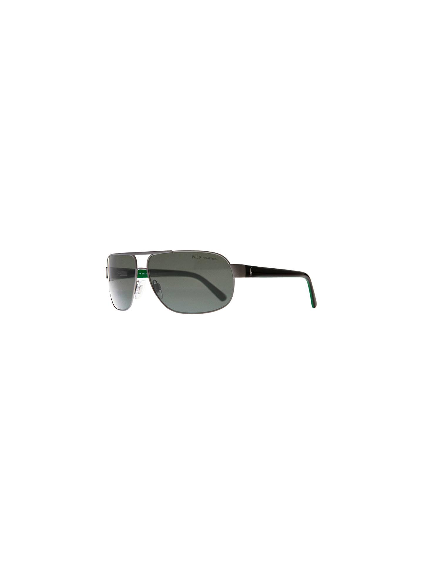 44d6865d74cd Buy Polo Ralph Lauren PH3066 Pony Player Pilot Sunglasses, Brushed Dark  Gunmetal Online at johnlewis ...