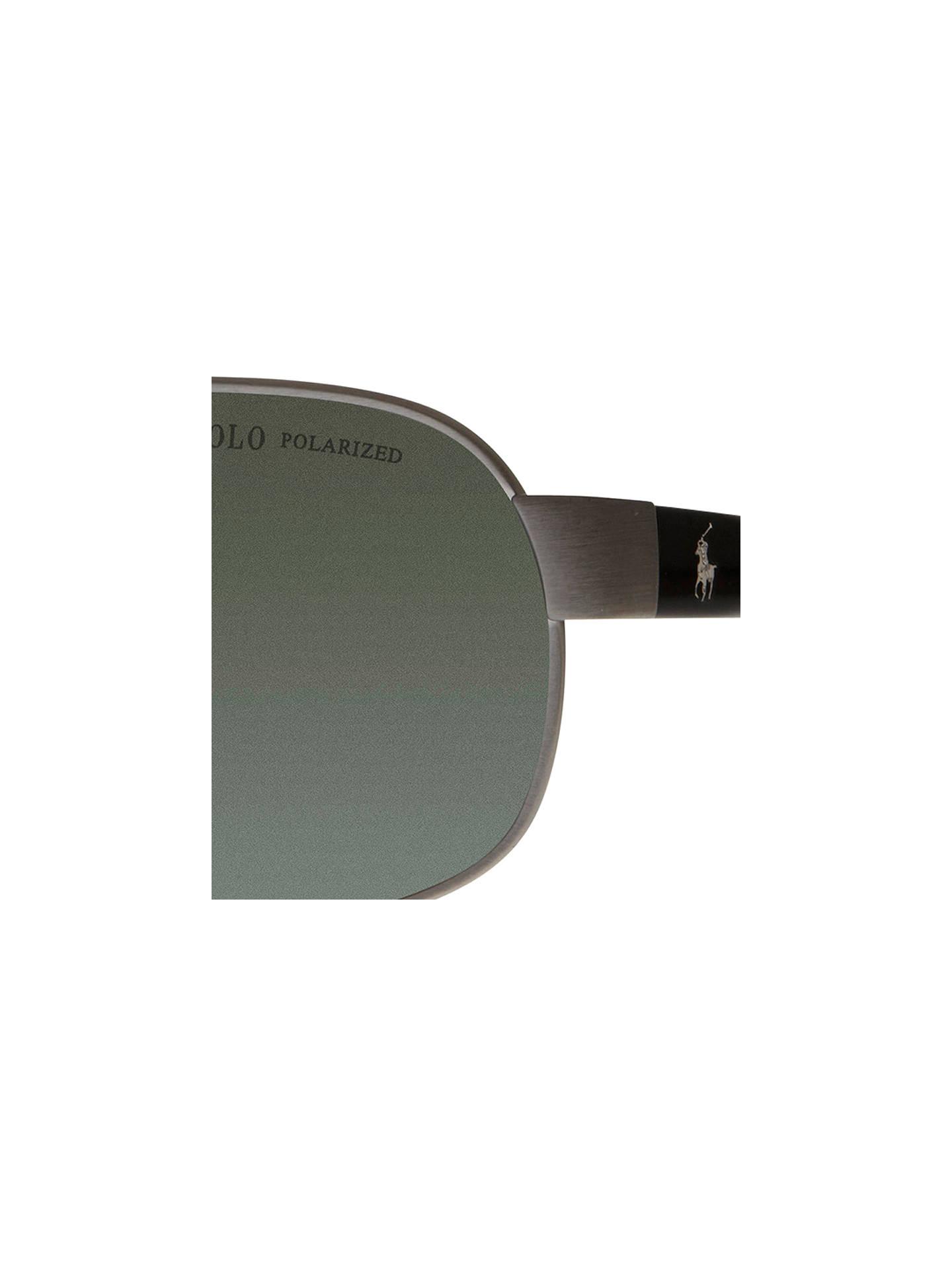 f547cc75fa0a ... Buy Polo Ralph Lauren PH3066 Pony Player Pilot Sunglasses, Brushed Dark  Gunmetal Online at johnlewis ...