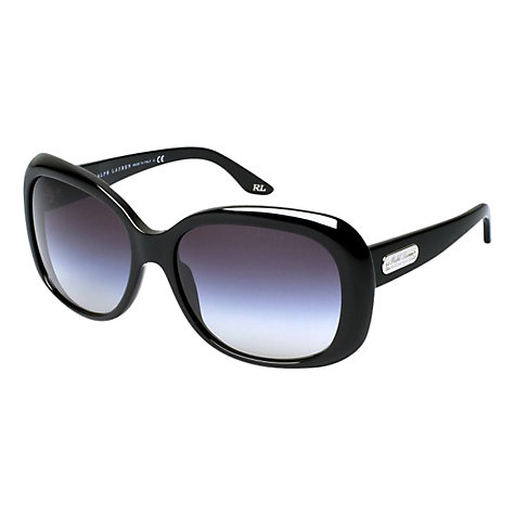 Buy Ralph Lauren RL8087 Oversized Sunglasses, Shiny Black Online at johnlewis.com