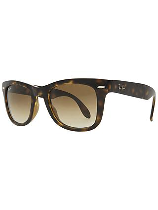 Ray-Ban RB4105 Folding Wayfarer Sunglasses, Light Havana