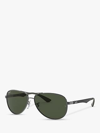 Ray-Ban RB8313 Polarised Aviator Sunglasses, Gunmetal/Grey Gradient