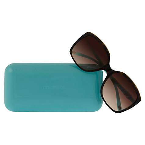Buy Tiffany & Co TF4076 Oversized Square Sunglasses, Havana / Blue Online at johnlewis.com