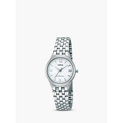 Lorus RRS01UX9 Women's Stainless Steel Bracelet Strap Watch, Silver/White