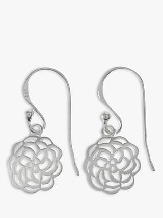Nina B Sterling Silver Open Rose Drop Earrings