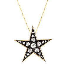 Buy London Road 9ct Gold Portobello Starry Night Large Diamond Star Pendant, Gold/Black Online at johnlewis.com