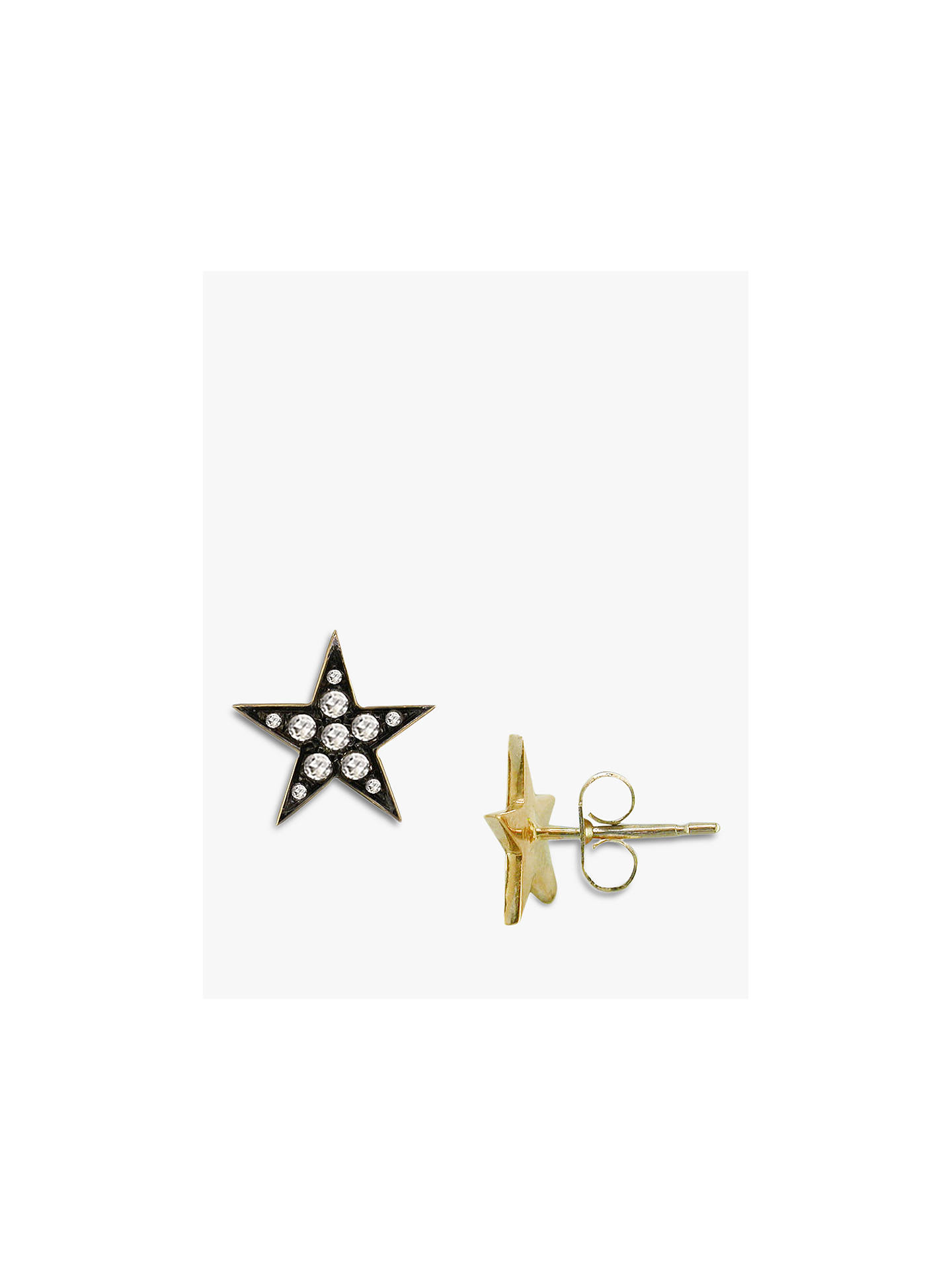 London Road 9ct Gold Portobello Starry Night Diamond Star Stud Earrings Yellow Online At