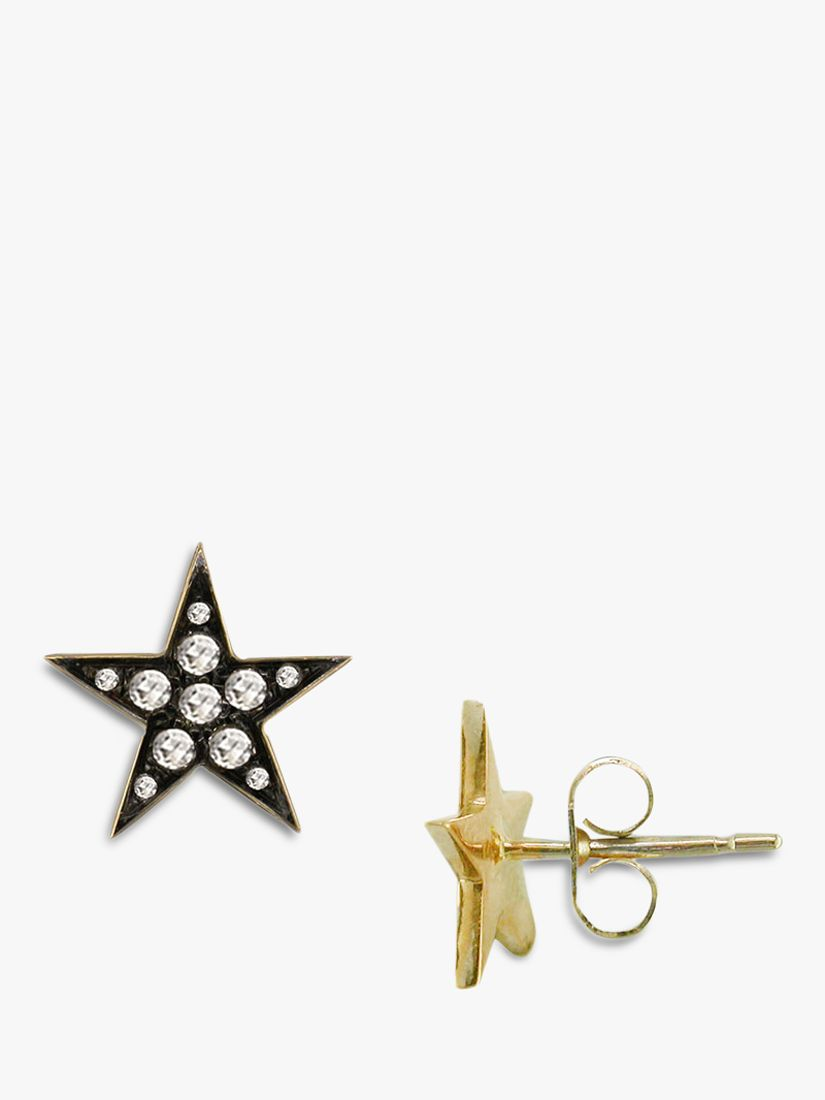 London Road London Road 9ct Gold Portobello Starry Night Diamond Star Stud Earrings, Yellow Gold