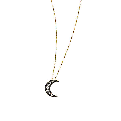 Buy London Road 9ct Gold Portobello Starry Night Diamond Moon Pendant Necklace, Gold/Black Online at johnlewis.com