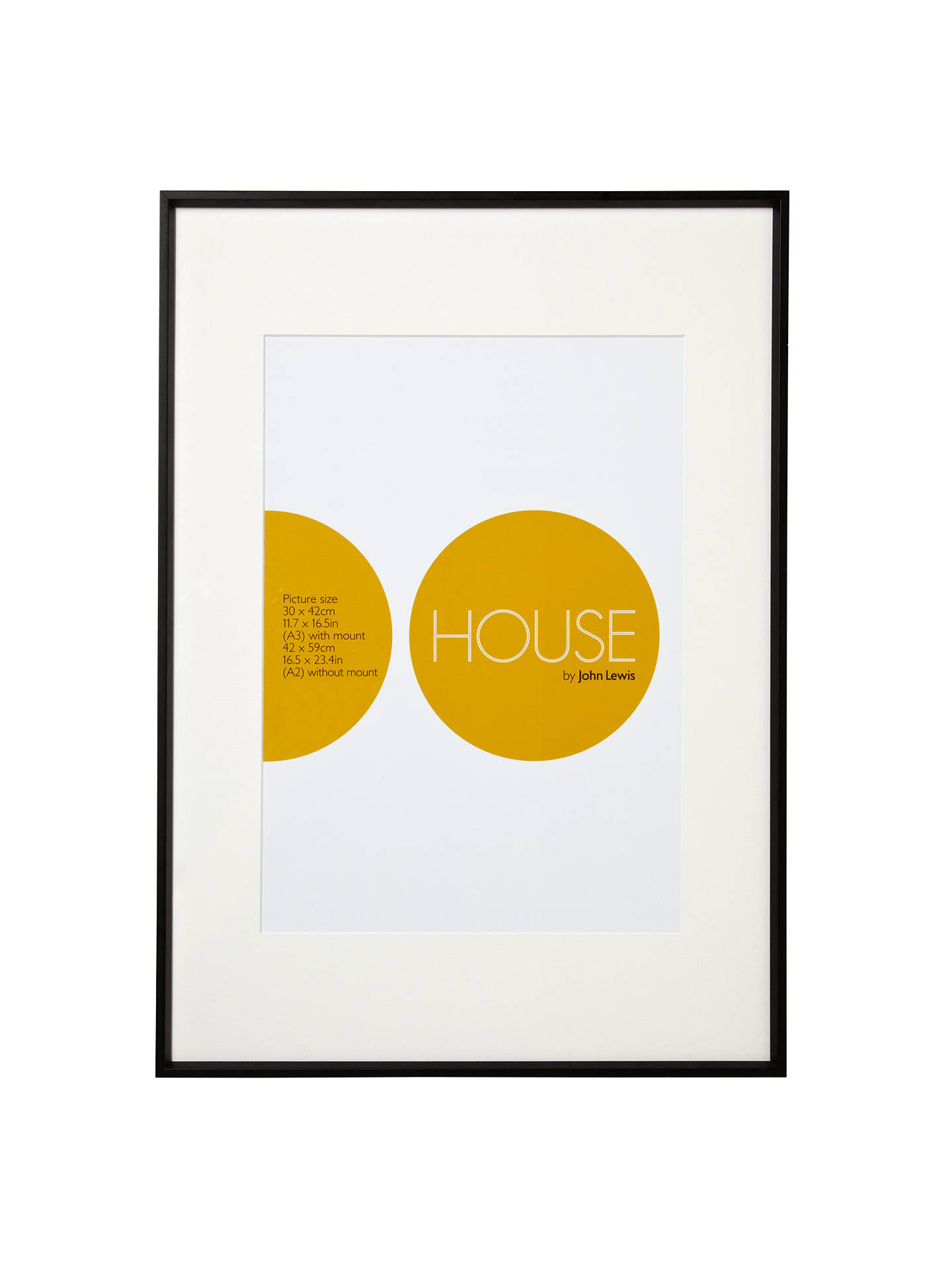 House by John Lewis Photo Frame, Matt Black, A2 with A3 Mount at ...