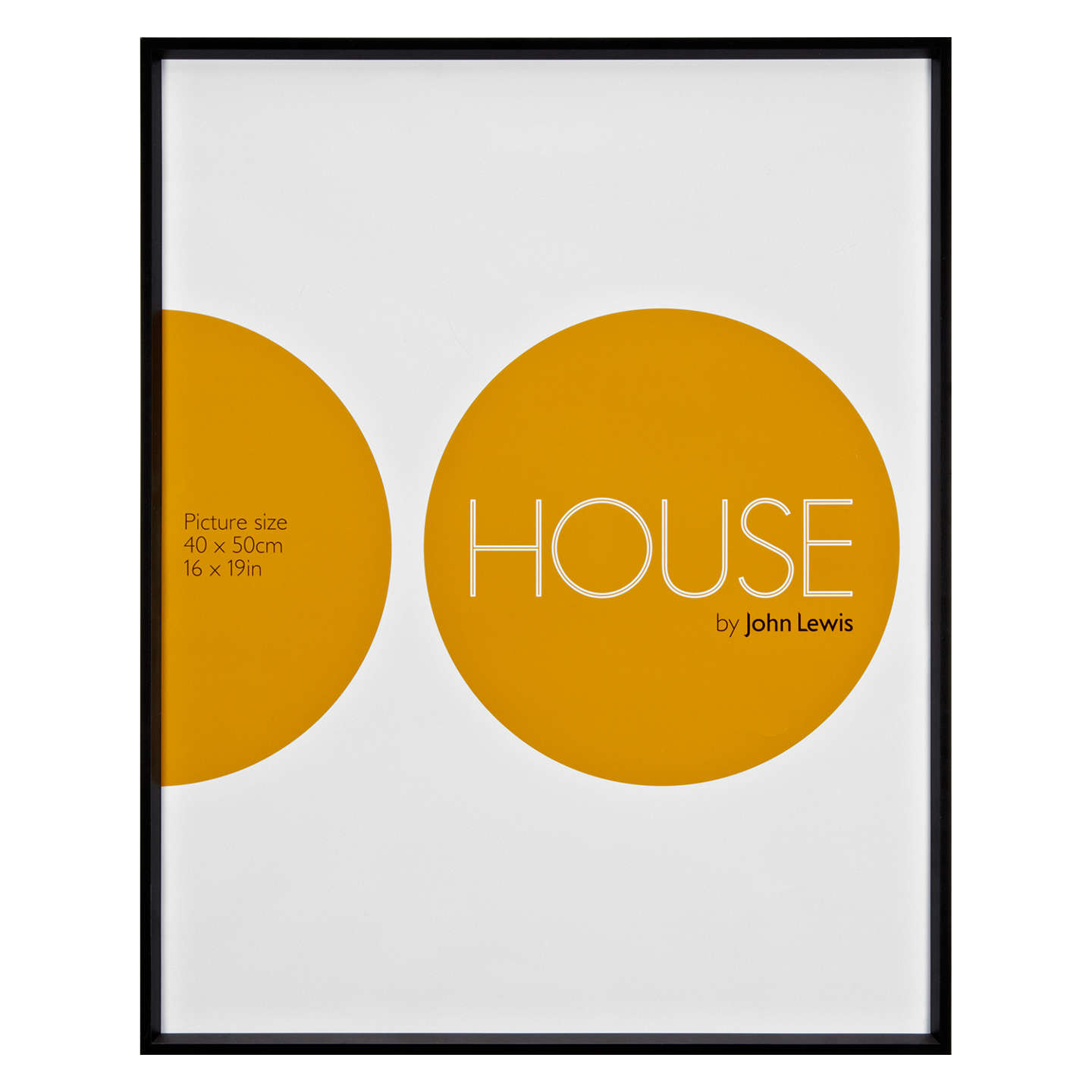 House by John Lewis Photo Frame, Matt Black, 16 x 19\