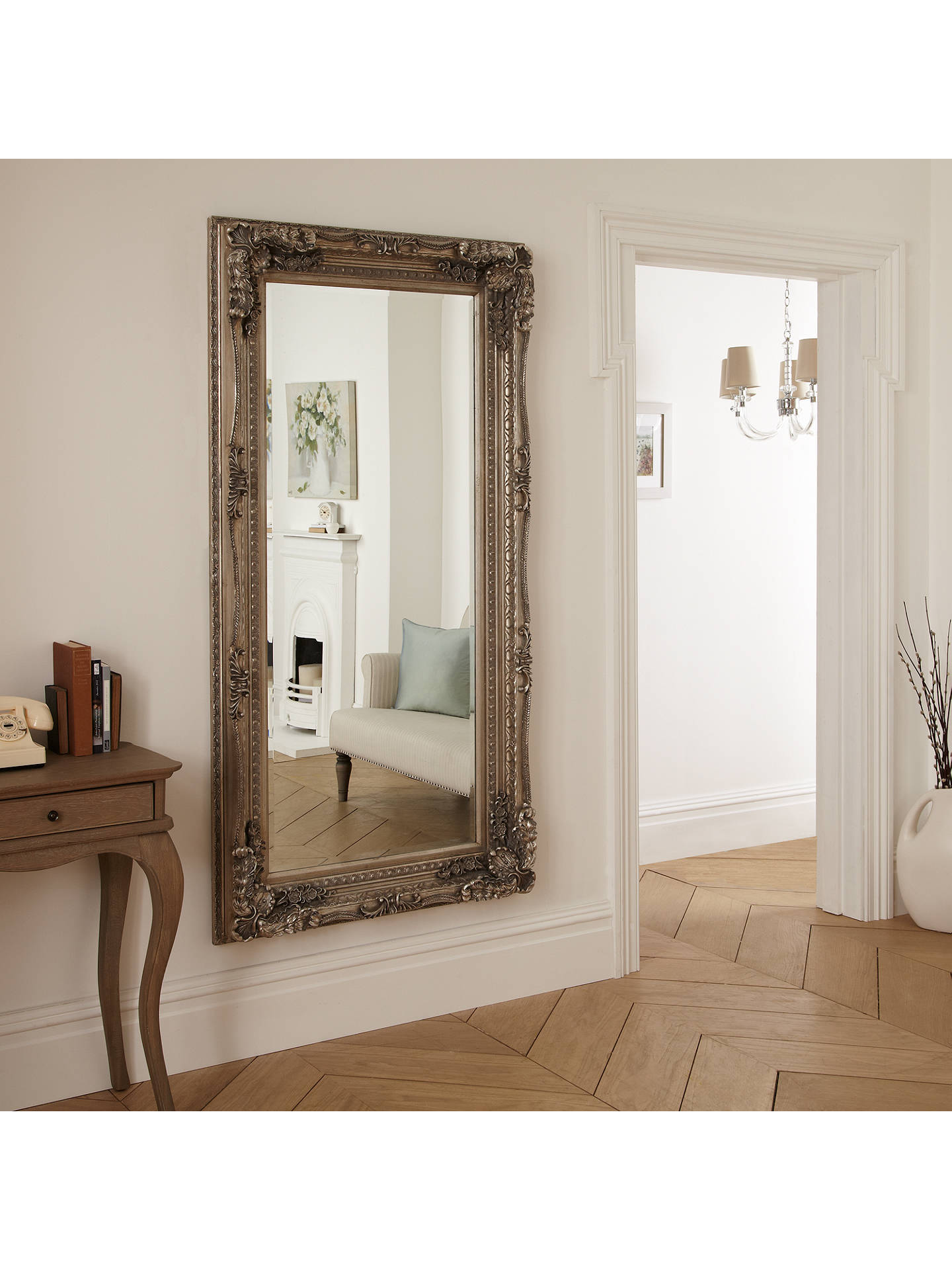 BuyCarved Louis Leaner Mirror, Silver, 176 x 90cm Online at johnlewis.com