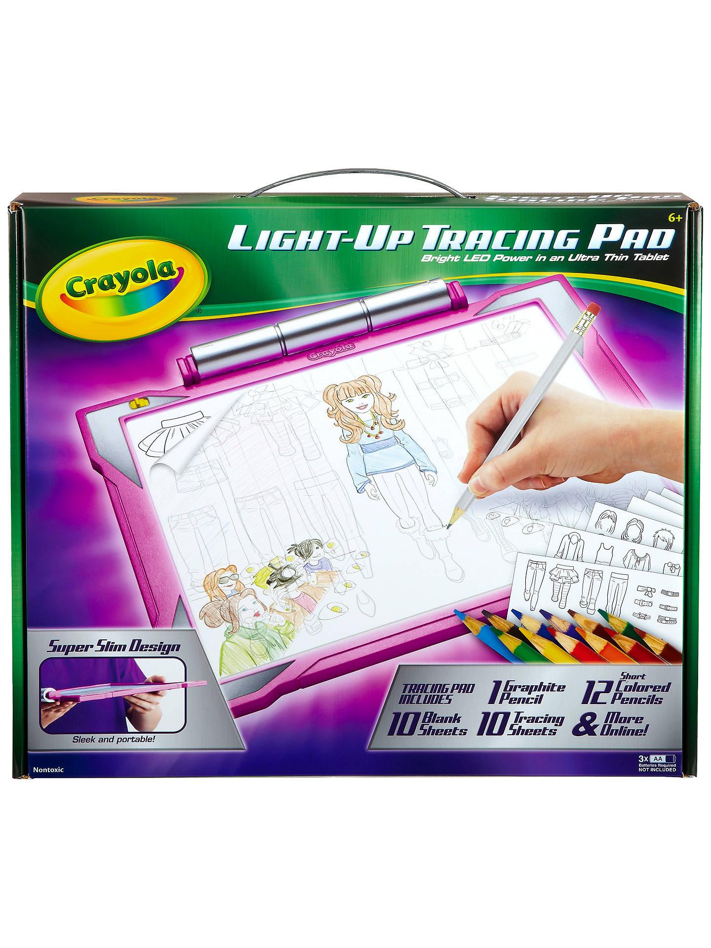 crayola light up tracing pad pink at john lewis partners
