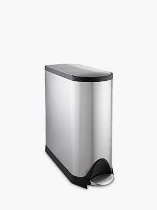 simplehuman Butterfly Pedal Bin, Fingerprint Proof Brushed Stainless Steel, 45L