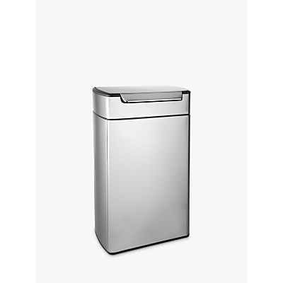 simplehuman Rectangular Touch Bar Bin, Stainless Steel, 40L