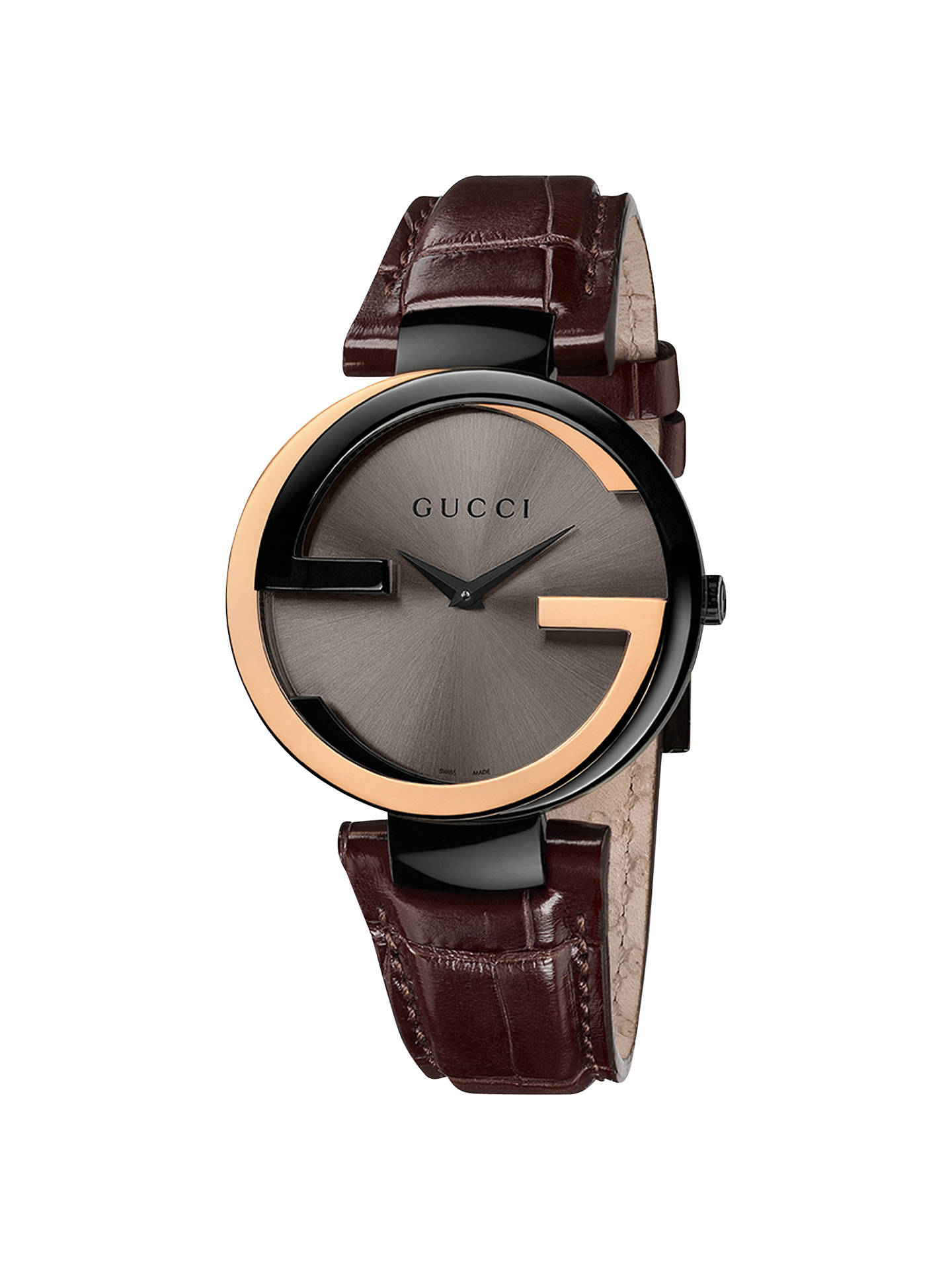 16e97af2e29 Gucci YA133304 Men s Interlocking G 18ct Gold Alligator Strap Watch ...