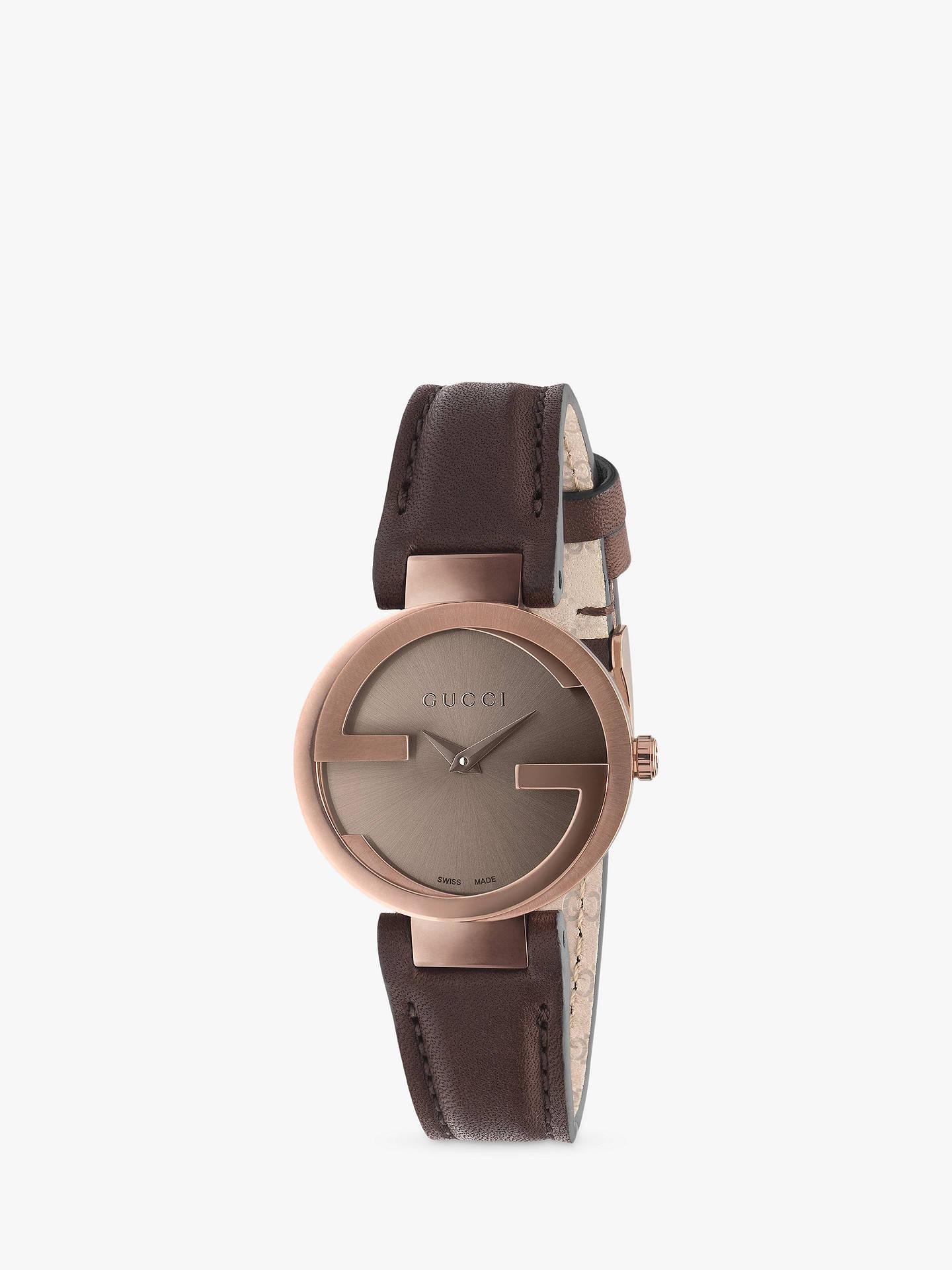 2dcde5b0406 Buy Gucci YA133504 Women s Interlocking G Leather Strap Watch