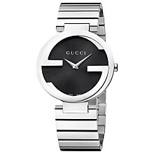 Buy Gucci YA133307 Women's Interlocking G Bracelet Strap Watch, Silver/Black Online at johnlewis.com