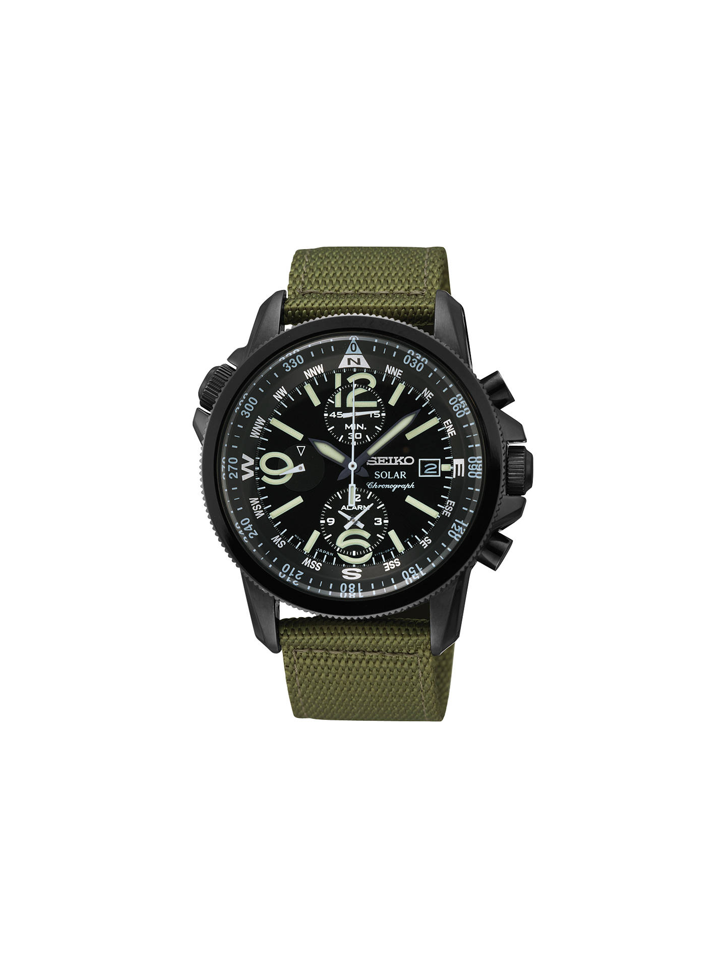 e5e0a1ffd Buy Seiko SSC137P1 Men's Solar Alarm Chronograph Canvas Strap Watch, Green  / Black Online at