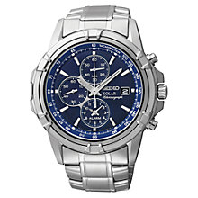 Buy Seiko SSC141P1 Men's Solar Chronograph Stainless Steel Bracelet Strap Watch, Silver/Blue Online at johnlewis.com