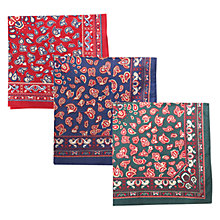 Buy Barbour Paisley Handkerchiefs, Pack Of 3, Navy/Red/Green Online at johnlewis.com