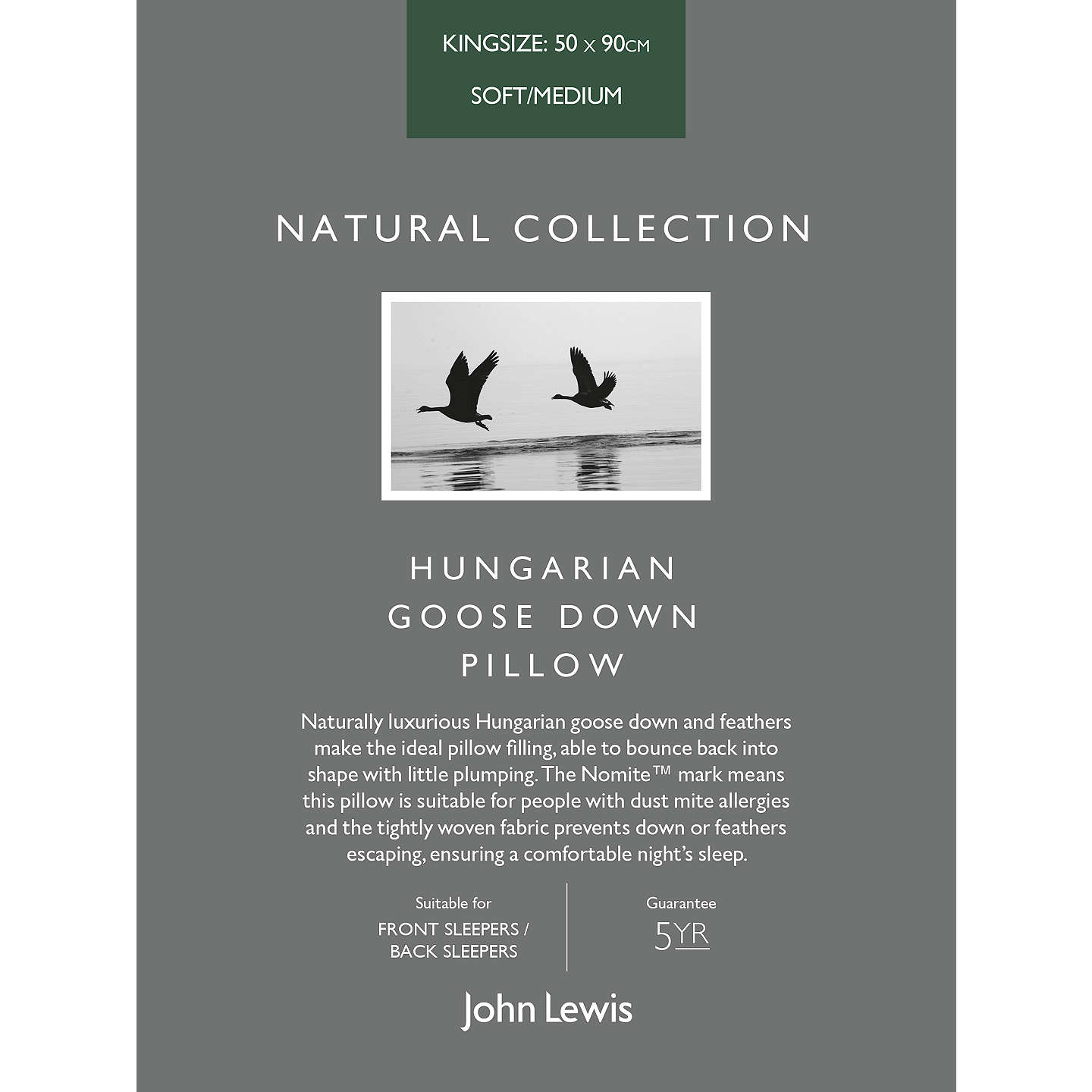 BuyJohn Lewis Natural Collection Hungarian Goose Down Kingsize Pillow, Soft/Medium Online at johnlewis.com