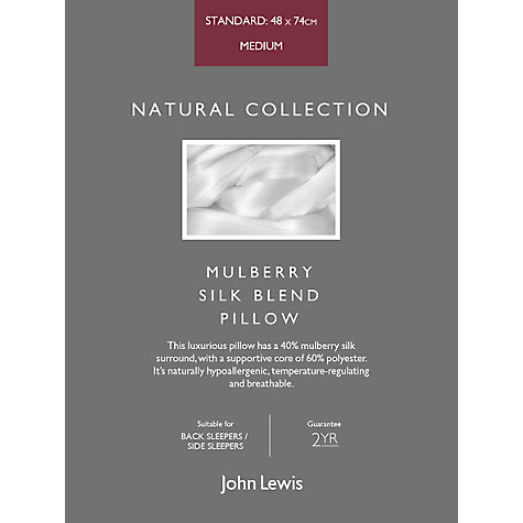 Buy John Lewis Natural Collection Mulberry Silk Blend Standard Pillow, Medium/Firm Online at johnlewis.com