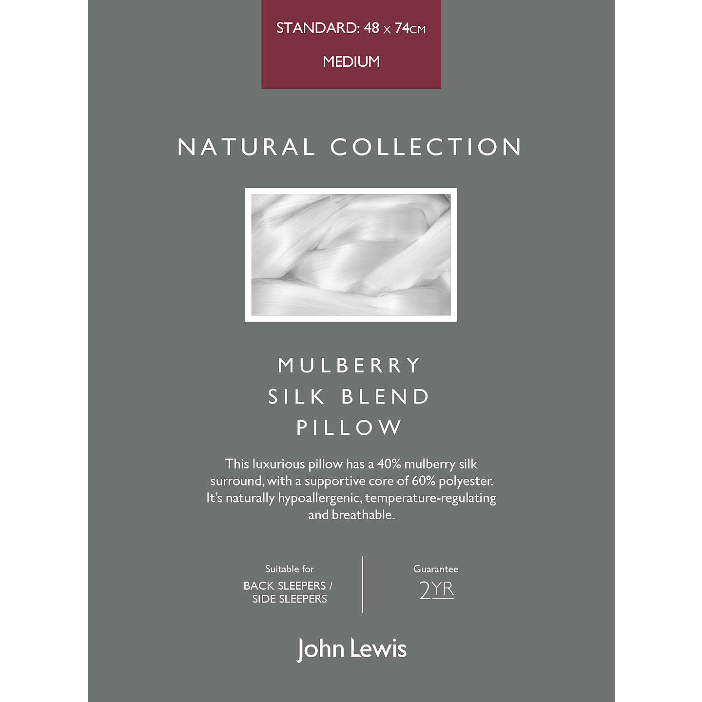 BuyJohn Lewis Natural Collection Mulberry Silk Blend Standard Pillow, Medium/Firm Online at johnlewis.com