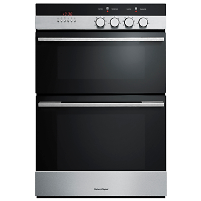 Image of Fisher & Paykel OB60B77CEX3 Double Electric Oven, Brushed Stainless Steel and Black Glass