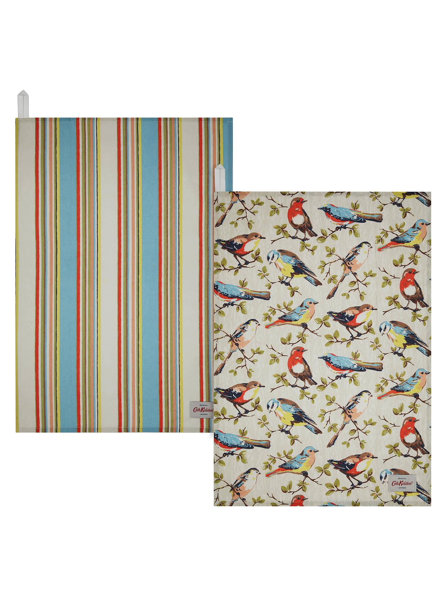 Cath Kidston Garden Birds And Kew Stripe Tea Towels Set Of