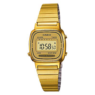 Casio LA670WEGA-9EF Women's Core Digital Alarm Chronograph Bracelet Strap Watch, Gold