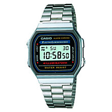 Buy Casio A168WA-1YES Unisex Core Classic Digital Stainless Steel Bracelet Strap Watch, Silver/Blue Online at johnlewis.com