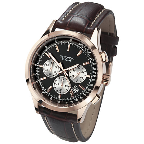 Buy Sekonda 3413.27 Men's Chronograph Leather Strap Watch, Brown/Black Online at johnlewis.com