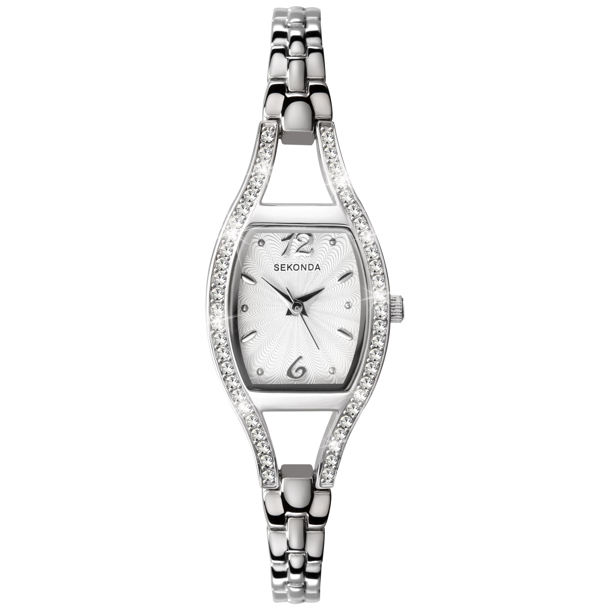 Sekonda Sekonda 4191.27 Women's Diamante Bezel Stainless Steel Bracelet Strap Watch, Silver