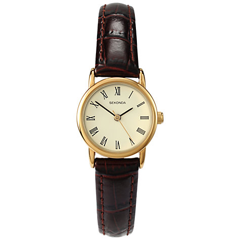 Buy Sekonda 4458.27 Women's Croc Effect Leather Strap Watch, Brown/Cream Online at johnlewis.com