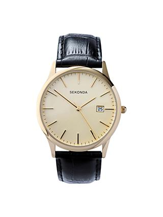 Sekonda 3697.27 Men's Date Leather Strap Watch, Black/Cream