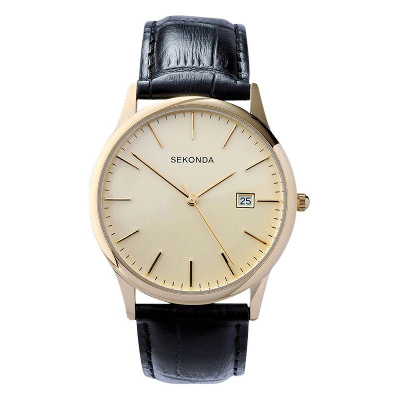 Sekonda Sekonda 3697.27 Men's Date Leather Strap Watch, Black/Cream