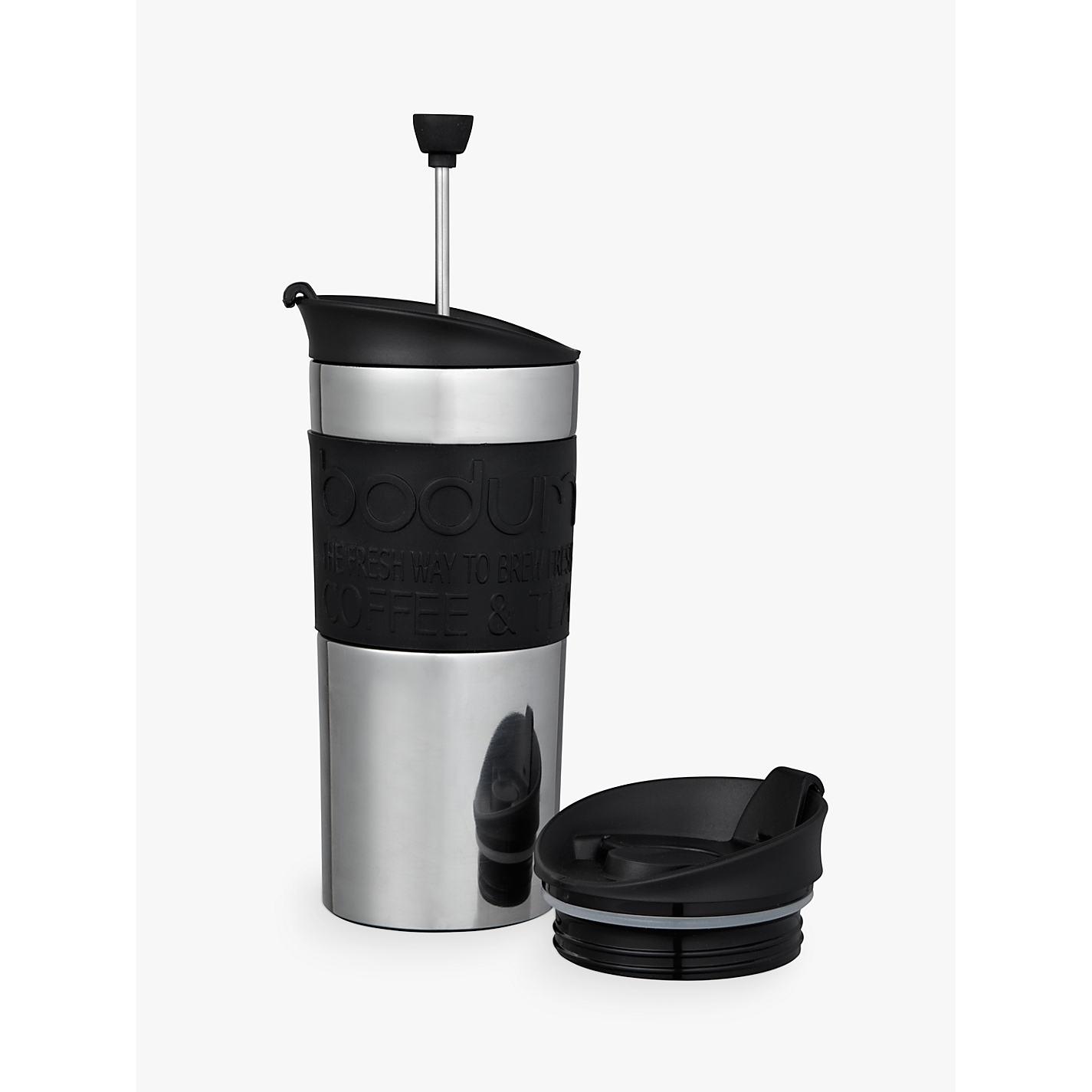 Bodum Travel Press Coffee Maker Set With Extra Lid 0 35l Black Online