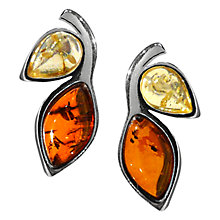Buy Goldmajor Bi-Colour Amber Sterling Silver Stud Earrings, Cognac / Lemon Online at johnlewis.com