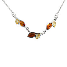 Buy Goldmajor Bi-Colour Amber Sterling Silver Collar Necklace, Cognac / Lemon Online at johnlewis.com