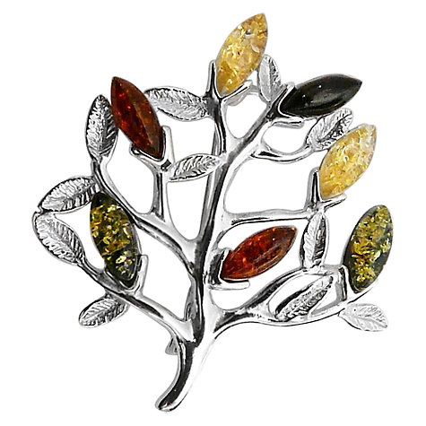 Buy Goldmajor Amber Sterling Silver Tree Brooch, Multi Online at johnlewis.com